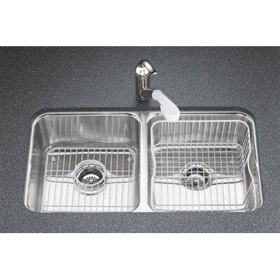 Undertone 31-1/2 x 18 x 7-3/4 Under-Mount Double-Equal Bowl Kitchen Sink