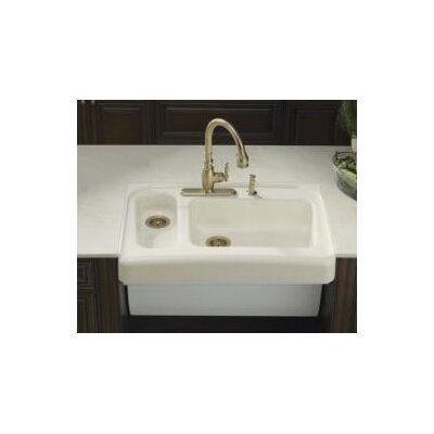 Assure 36 x 25-1/2 x 6-7/8 Barrier-Free Tile-In/Under-Mount Double Kitchen Sink Finish: Almond, Faucet Drillings: 4 Hole