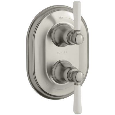 Bancroft Stacked Valve Trim with White Ceramic Lever Handles, Requires Valve Finish: Vibrant Brushed Nickel, Handle Material: Metal