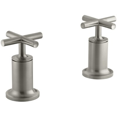 Purist Deck- or Wall-Mount High-Flow Bath Valve Trim with Cross Handle Finish: Vibrant Brushed Nickel