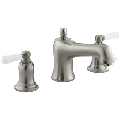 Bancroft Bath Faucet Trim for Deck-Mount Valve with Diverter Spout and White Ceramic Lever Handles, Valve Not Included Finish: Vibrant Brushed Nickel