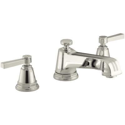 Pinstripe Deck-Mount Bath Faucet Trim for High-Flow Valve with Lever Handles, Valve Not Included Finish: Vibrant Polished Nickel