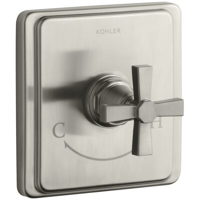 Pinstripe Valve Trim with Pure Design Cross Handle for Thermostatic Valve, Requires Valve Finish: Vibrant Brushed Nickel