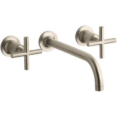 Purist Wall-Mount Bathroom Sink Faucet Trim with 9, 90-Degree Angle Spout and Cross Handles, Requires Valve Finish: Vibrant Brushed Bronze