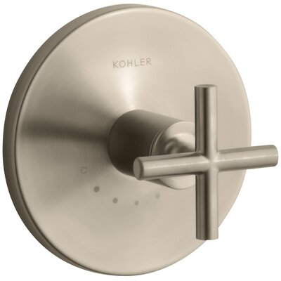 Purist Valve Trim with Cross Handle for Thermostatic Valve Finish: Vibrant Brushed Bronze