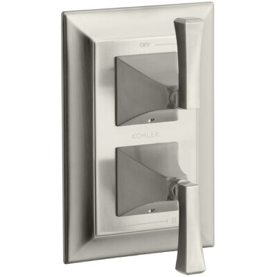 Memoirs Stately Valve Trim with Deco Lever Handles for Stacked Valve Finish: Vibrant Brushed Nickel K-T10422-4V-BN