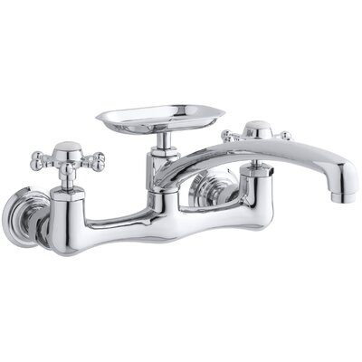 Antique Two-Hole Wall-Mount Kitchen Sink Faucet with 8 Spout, Soap Dish and 6-Prong Handles Finish: Polished Chrome, Spout Reach: 12 Swing Spout