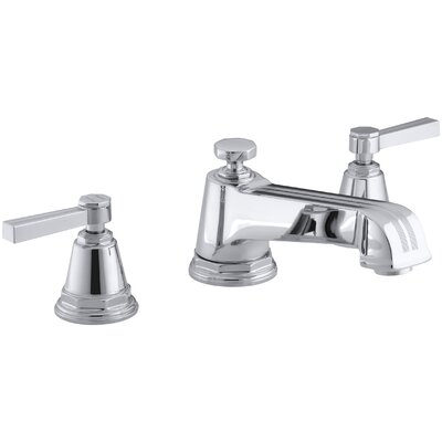 Pinstripe Deck-Mount Bath Faucet Trim for High-Flow Valve with Lever Handles, Valve Not Included Finish: Polished Chrome