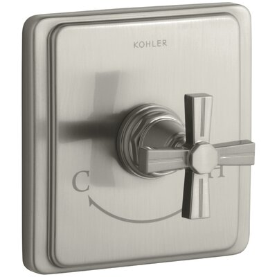 Pinstripe Valve Trim with Cross Handle for Thermostatic Valve, Requires Valve Finish: Vibrant Brushed Nickel