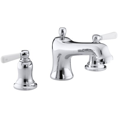 Bancroft Bath Faucet Trim for Deck-Mount Valve with Diverter Spout and White Ceramic Lever Handles, Valve Not Included Finish: Polished Chrome