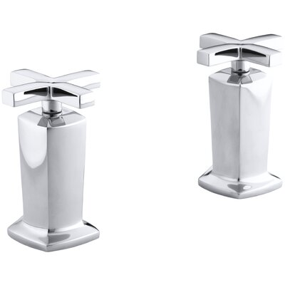 Margaux Valve Trim with Cross Handles for Deck-Mount High-Flow Bath Valve, Requires Valve Finish: Polished Chrome