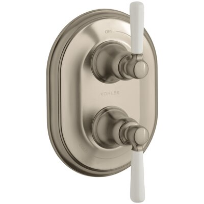 Bancroft Stacked Valve Trim with White Ceramic Lever Handles, Requires Valve Finish: Vibrant Brushed Bronze, Handle Material: Metal