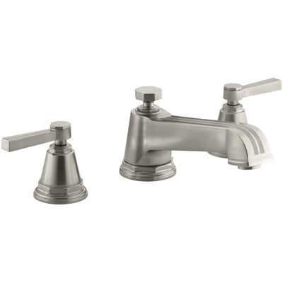 Pinstripe Deck-Mount Bath Faucet Trim for High-Flow Valve with Lever Handles, Valve Not Included Finish: Vibrant Brushed Nickel