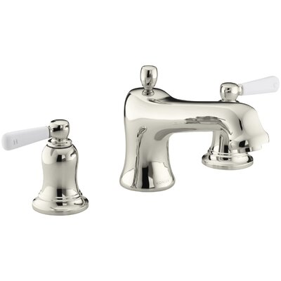 Bancroft Bath Faucet Trim for Deck-Mount Valve with Diverter Spout and White Ceramic Lever Handles, Valve Not Included Finish: Vibrant Polished Nickel