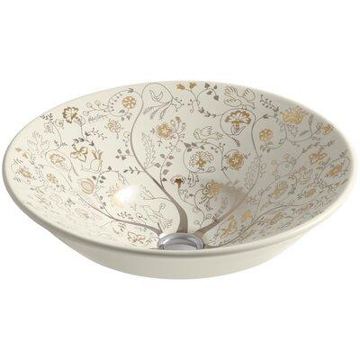 Mille Fleurs Design On Conical Bell Vessel Bathroom Sink K-14223-T9-47