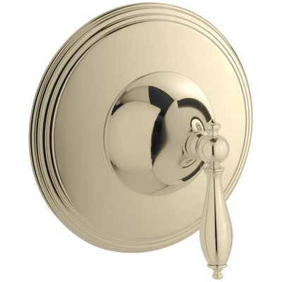 Finial Traditional Valve Trim with Lever Handle for Thermostatic Valve, Requires Valve Finish: Vibrant French Gold
