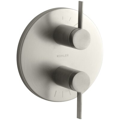 Stillness Valve Trim with Lever Handles for Stacked Valve Finish: Vibrant Brushed Nickel