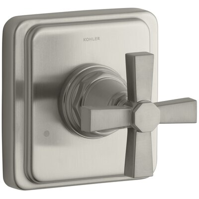 Pinstripe Valve Trim with Pure Design Cross Handle for Transfer Valve, Requires Valve Finish: Vibrant Brushed Nickel