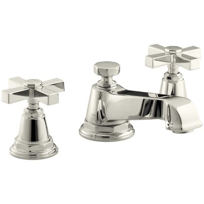 Pinstripe Pure Widespread Bathroom Sink Faucet with Cross Handles Finish: Vibrant Polished Nickel