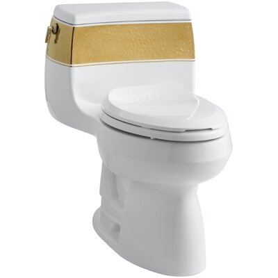 Laureate Design On Gabrielle Comfort Height One-Piece Elongated 1.28 GPF Toilet with Class Five Flush Technology and Left-Hand Trip Lever
