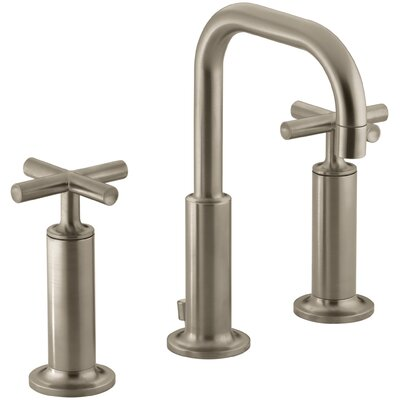 Purist Widespread Bathroom Sink Faucet with High Cross Handles and Low Gooseneck Spout Finish: Vibrant Brushed Bronze