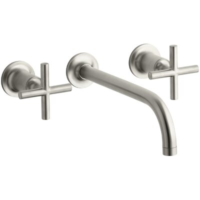 Purist Wall-Mount Bathroom Sink Faucet Trim with 9, 90-Degree Angle Spout and Cross Handles, Requires Valve Finish: Vibrant Brushed Nickel