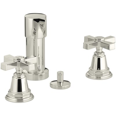 Pinstripe Pure Vertical Spray Bidet Faucet with Cross Handles Finish: Vibrant Polished Nickel