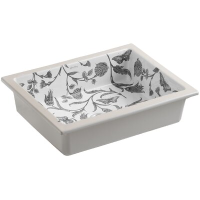 Botanical Study Ceramic Rectangular Undermount Bathroom Sink with Overflow