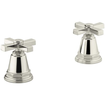 Pinstripe Pure Deck-Mount High-Flow Bath Valve Trim with Cross Handles, Handles Only, Valve Not Included Finish: Vibrant Polished Nickel