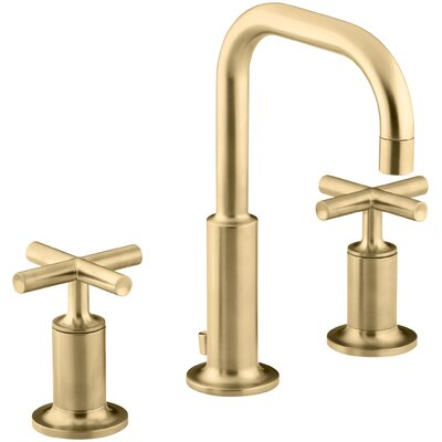 Purist Widespread Bathroom Sink Faucet with Low Cross Handles and Low Gooseneck Spout Finish: Vibrant Moderne Brushed Gold