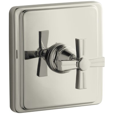 Pinstripe Valve Trim with Cross Handle for Thermostatic Valve, Requires Valve Finish: Vibrant Polished Nickel