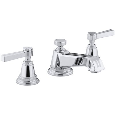 Pinstripe Widespread Double Handle Bathroom Faucet with Drain Assembly Finish: Polished Chrome