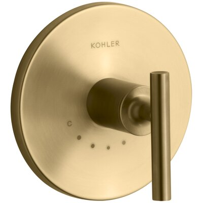 Purist Valve Trim with Lever Handle for Thermostatic Valve Finish: Vibrant Moderne Brushed Gold