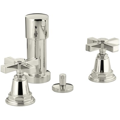 Pinstripe Vertical Spray Bidet Faucet with Cross Handles Finish: Vibrant Polished Nickel