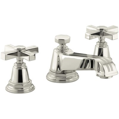 Pinstripe Widespread Bathroom Sink Faucet with Cross Handles Finish: Vibrant Polished Nickel