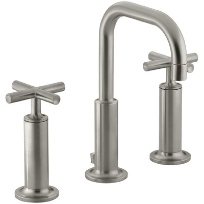Purist Widespread Bathroom Sink Faucet with High Cross Handles and Low Gooseneck Spout Finish: Vibrant Brushed Nickel