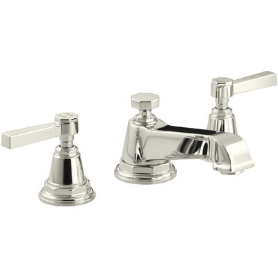 Pinstripe Widespread Double Handle Bathroom Faucet with Drain Assembly Finish: Vibrant Polished Nickel