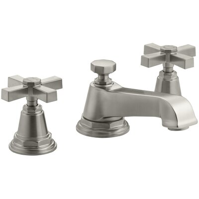 Pinstripe Pure Widespread Bathroom Sink Faucet with Cross Handles Finish: Vibrant Brushed Nickel