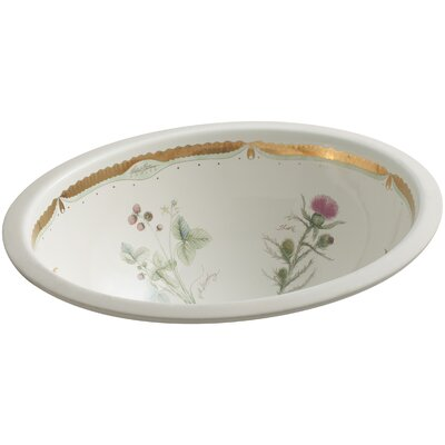 Caxton Prairie Flowers Oval Undermount Bathroom Sink