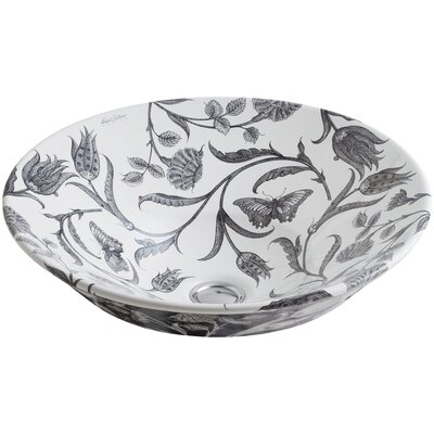 Botanical Study Ceramic Circular Vessel Bathroom Sink