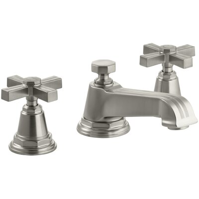 Pinstripe Widespread Bathroom Sink Faucet with Cross Handles Finish: Vibrant Brushed Nickel
