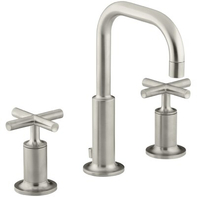 Purist Widespread Bathroom Sink Faucet with Low Cross Handles and Low Gooseneck Spout Finish: Vibrant Brushed Nickel