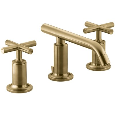 Purist Widespread Bathroom Sink Faucet with Low Cross Handles and Low Spout Finish: Vibrant Moderne Brushed Gold