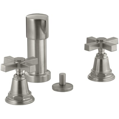 Pinstripe Pure Vertical Spray Bidet Faucet with Cross Handles Finish: Vibrant Brushed Nickel