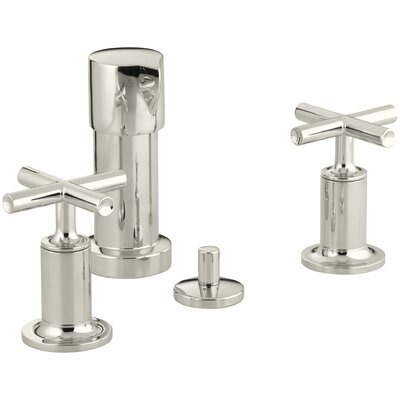 Purist Vertical Spray Bidet Faucet with Cross Handles Finish: Vibrant Polished Nickel