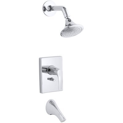Kohler Symbol Rite-Temp Pressure-Balancing Bath and Shower Faucet Trim with Push-Button Diverter, Valve Not Included K-T18488-4-CP