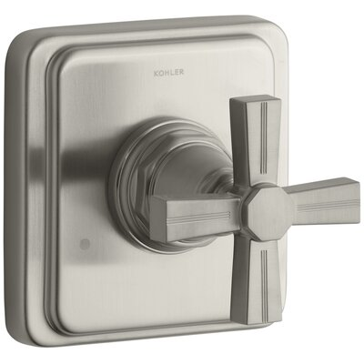 Pinstripe Valve Trim with Cross Handle for Transfer Valve, Requires Valve Finish: Vibrant Brushed Nickel K-T13175-3B-BN
