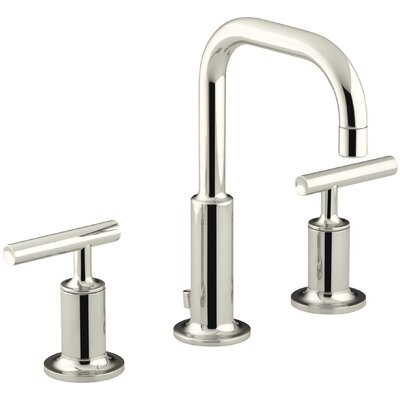 Purist Widespread Bathroom Sink Faucet with Low Lever Handles and Low Gooseneck Spout Finish: Vibrant Polished Nickel