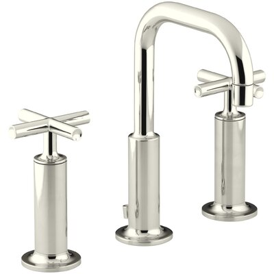Purist Widespread Bathroom Sink Faucet with High Cross Handles and Low Gooseneck Spout Finish: Vibrant Polished Nickel