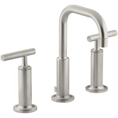 Purist Widespread Bathroom Sink Faucet with High Lever Handles and Low Gooseneck Spout Finish: Vibrant Brushed Nickel